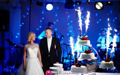 Para młoda przy torcie weselnym.