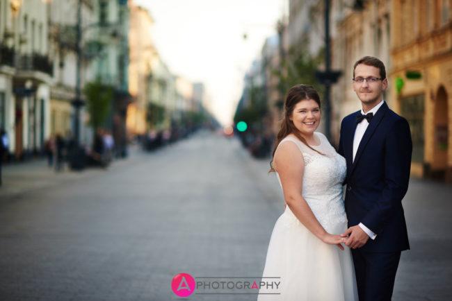 Ulica Piotrkowska, plener ślubny.