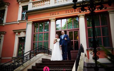 Ślub w Urzędzie Stanu Cywilnego przy ulicy Pabianickiej.
